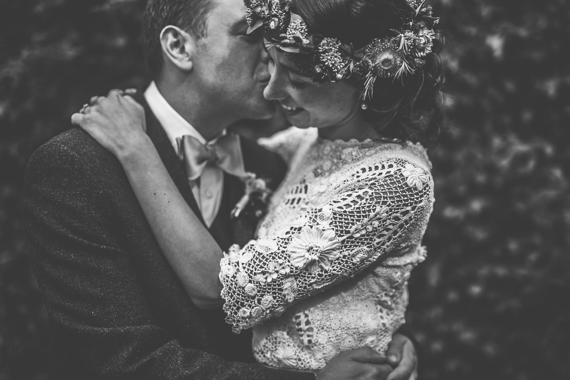 Winterbourne Medieval Barn Wedding Photography - Emma & Andrew - black and white portrait of couple