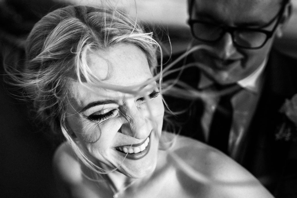 Dalmeny Lytham St Annes Wedding Photography - S&C - close up of bride happy in black and white