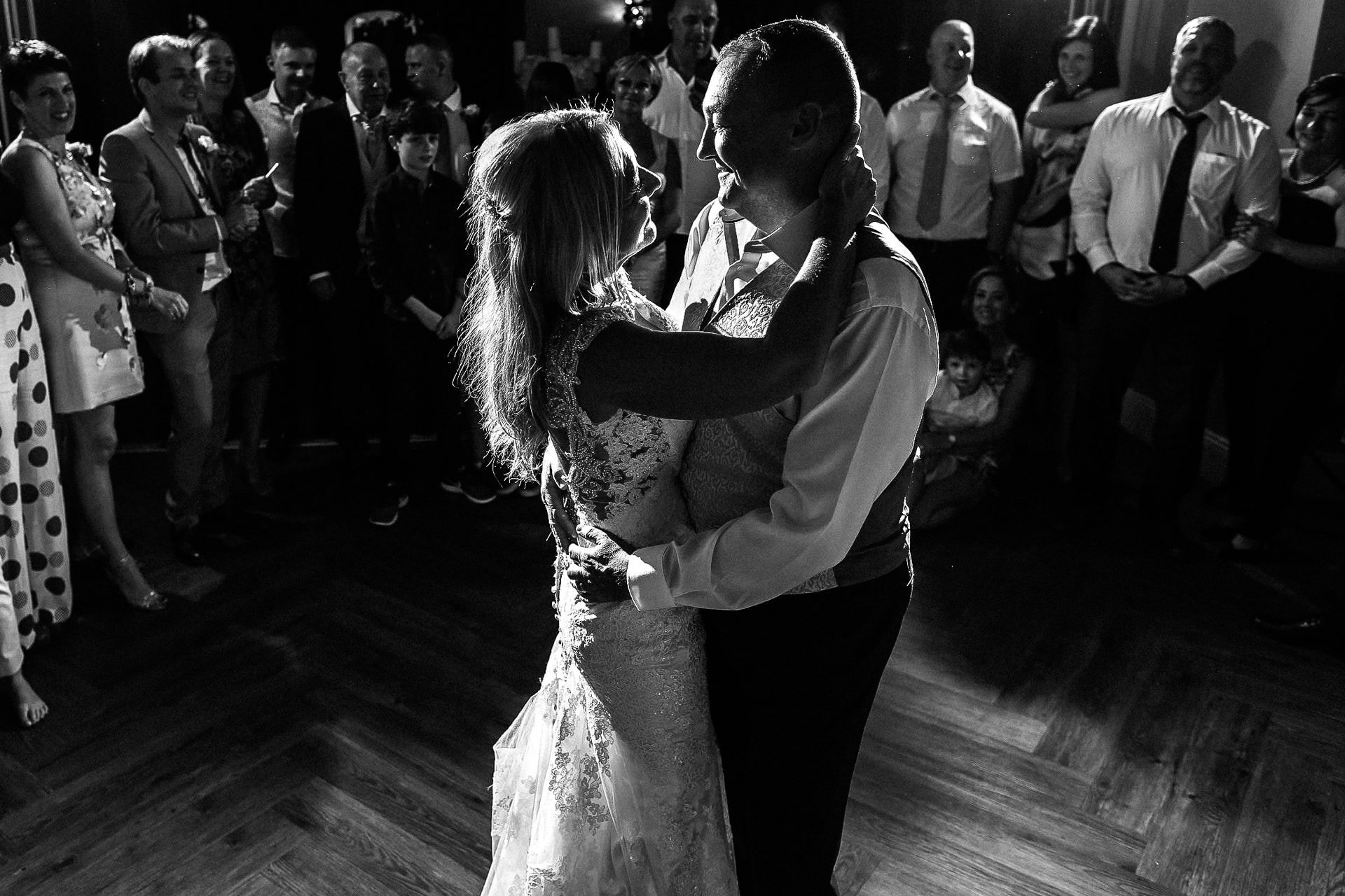 Oddfellows on the Park Wedding Photography - VA - bride and groom first dance in black and white
